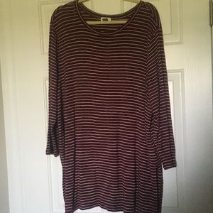 Maroon and White Striped Tunic